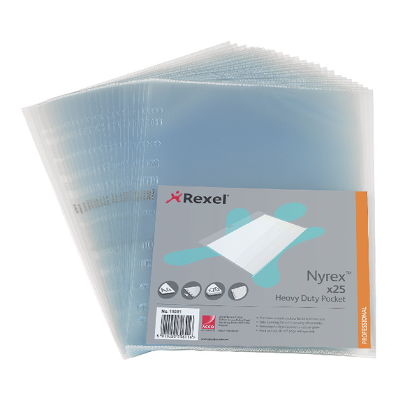 Rexel Nyrex Heavy Duty Side Opening Pocket A4 (25 Pack) NRBA41 11011