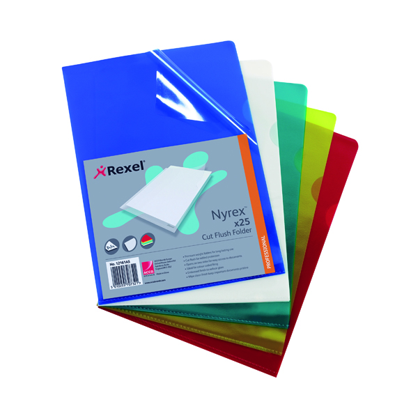 Rexel Nyrex Cut Flush Folder A4 Assorted (25 Pack) 12161AS