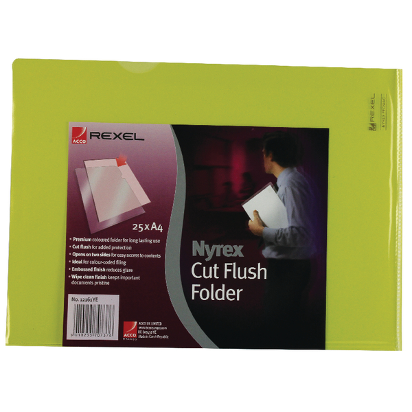 A4 Rexel Nyrex Cut Flush Folder A4 Yellow (25 Pack) 12161YE