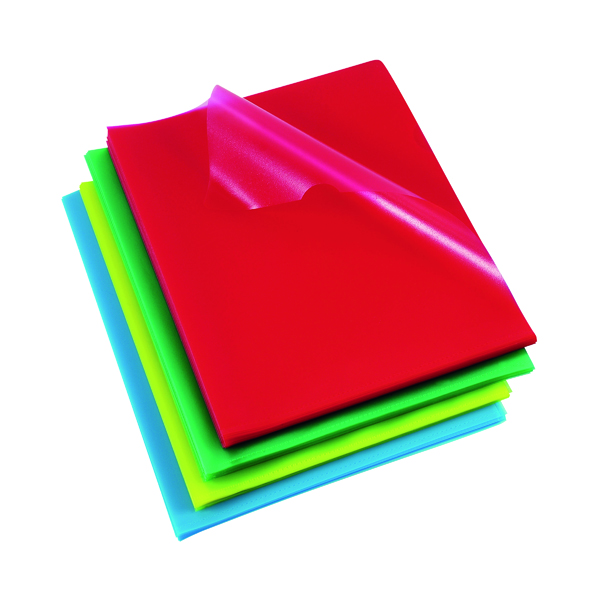 A4 Rexel Cut Flush Folders Polypropylene A4 Assorted (100 Pack) 12216AS