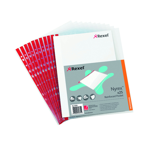 Rexel Nyrex Pocket PVC Side Opening A4 Clear (25 Pack) PRA4L 12253