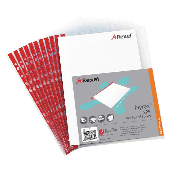 Rexel Nyrex Pocket PVC Open Side Foolscap Clear (25 Pack) R149L 12263