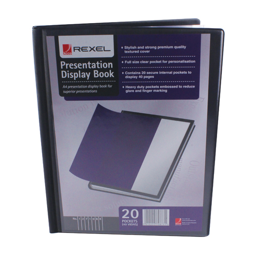 11-20 Pockets Rexel Presentation Display Book A4 Black 20 Pocket 12710BK