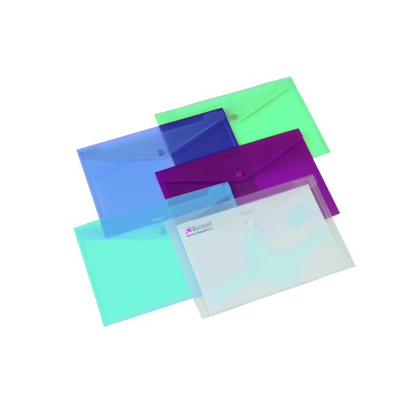 Rexel Popper Folder A4 Clear Assorted (6 Pack) 16129AS
