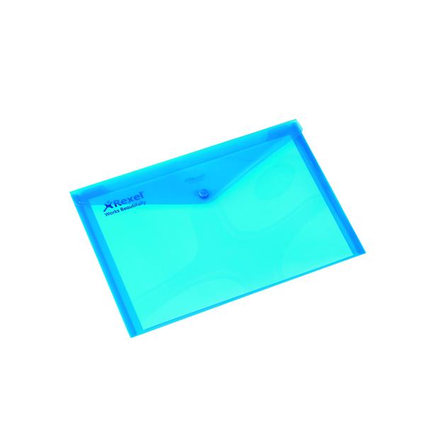 A4 Rexel Translucent Blue Carry A4 Folder (5 Pack) 16129BU
