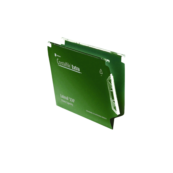 Rexel Crystalfile Extra 15mm Lateral File 150 Sheet Green (25 Pack) 3000121