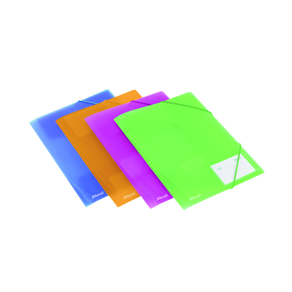 1-31 Pocket Rexel Ice PP Elasticated 4 Fold File A4 Assorted (4 Pack) 2102050