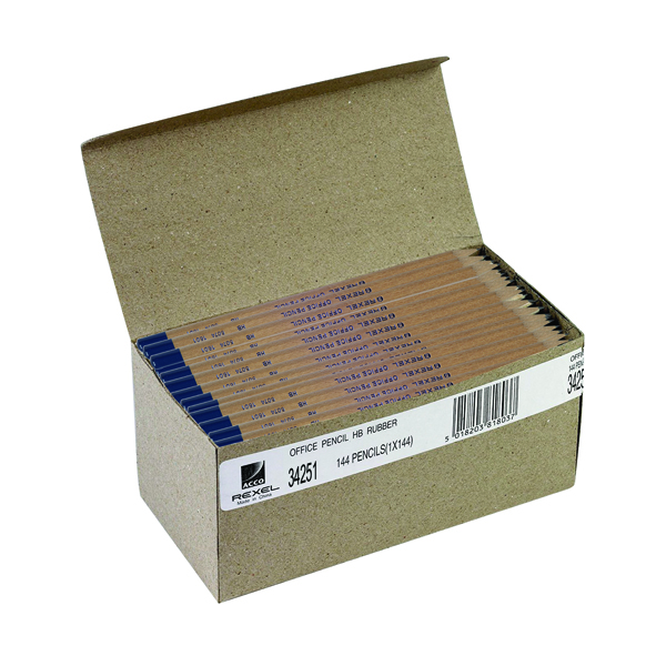 Black Lead Rexel Office HB Pencil Natural Wood (144 Pack) 34251