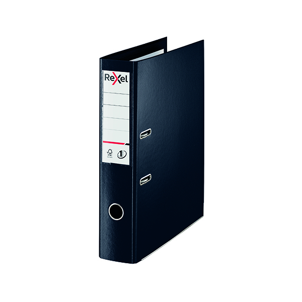 Foolscap (Legal) Size Rexel Choices 75mm Lever Arch File Polypropylene Foolscap Black 2115511