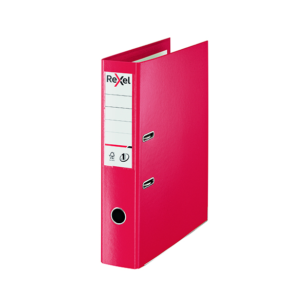 Foolscap (Legal) Size Rexel Choices 75mm Lever Arch File Polypropylene Foolscap Red 2115513