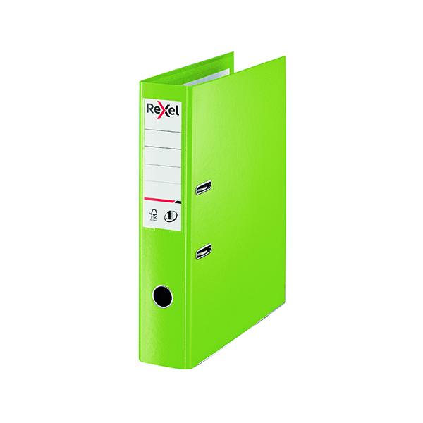 Rexel Choices 75mm Lever Arch File Polypropylene Foolscap Green 2115514
