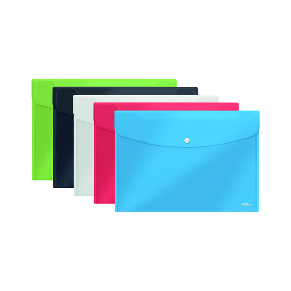 Foolscap Rexel Choices Popper Wallet A5 Assorted (5 Pack) 2115673