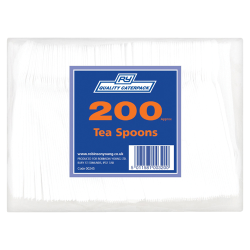 Plastic Teaspoons White (200 Pack) 0245