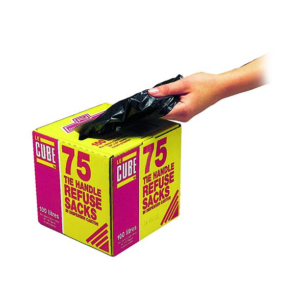 Le Cube Tie Handle Refuse Sacks With Dispenser 100 Litre Black (75 Pack) 0481
