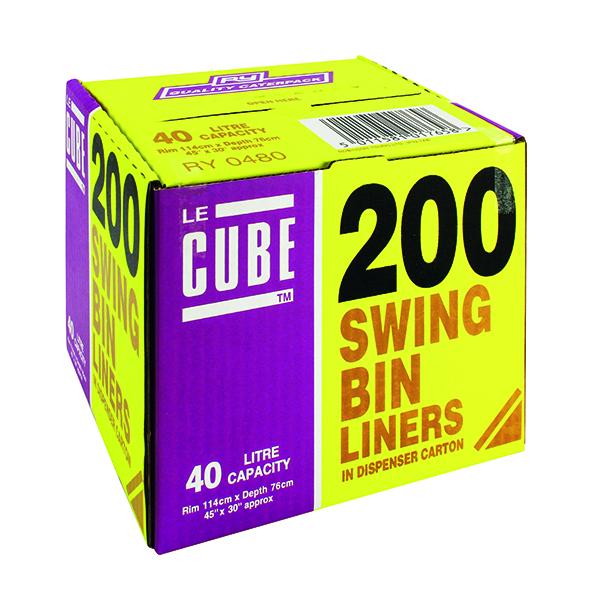 Le Cube Swing Bin Liner Dispenser 46 Litre (200 Pack) 0480
