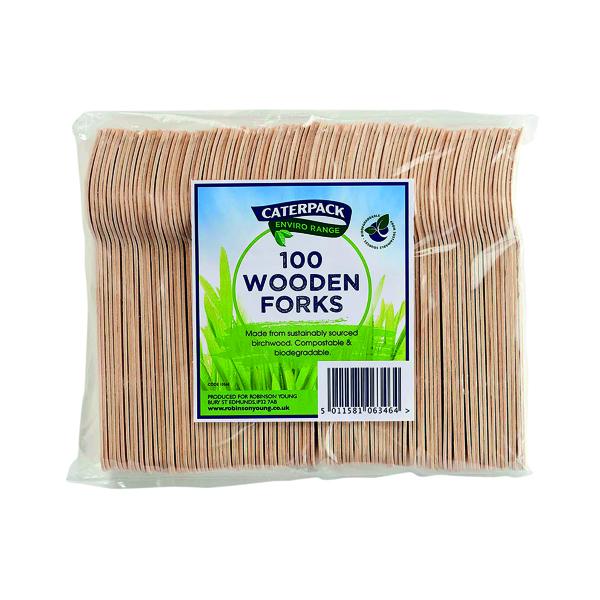 Crockery Caterpack Enviro Wooden Forks (100 Pack) RY10568