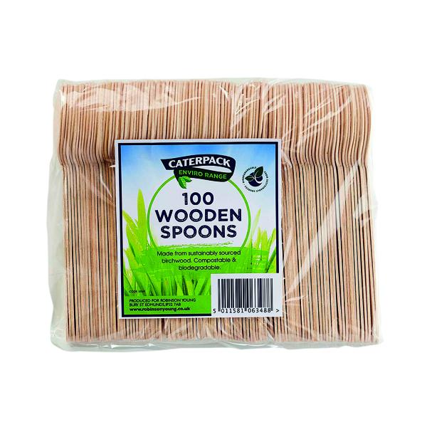 Crockery Caterpack Enviro Wooden Spoons (100 Pack) RY10569