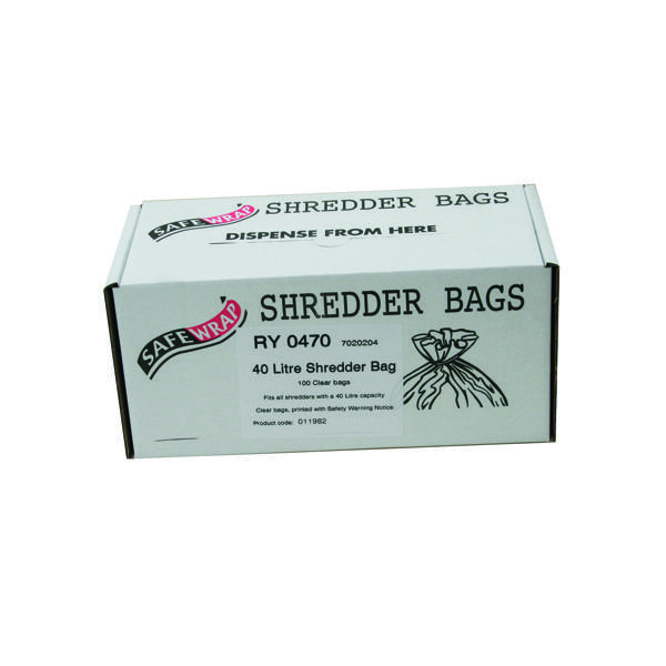 Bags/Sacks Safewrap Shredder Bag 40 Litre (100 Pack) RY0470