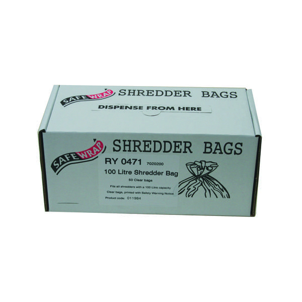 Bags/Sacks Safewrap Shredder Bag 100 Litre (50 Pack) RY0471