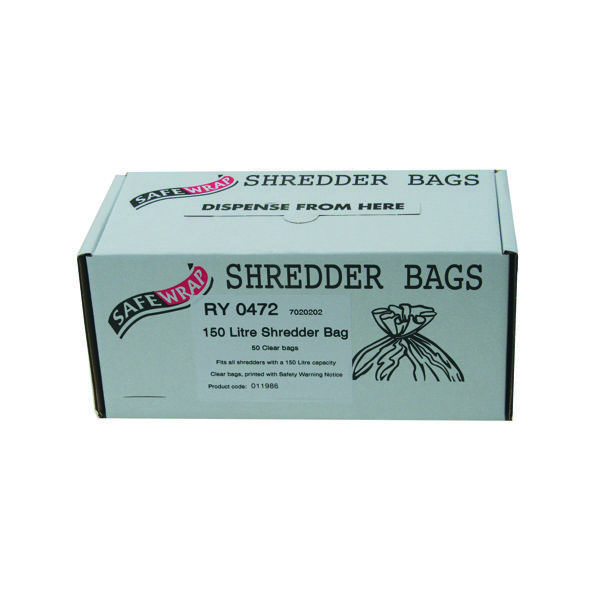 Bags/Sacks Safewrap Shredder Bag 150 Litre (50 Pack) RY0472