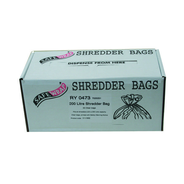 Bags/Sacks Safewrap Shredder Bag 200 Litre (50 Pack) RY0473