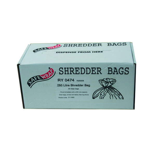 Bags/Sacks Safewrap Shredder Bag 250 Litre (50 Pack) RY0474