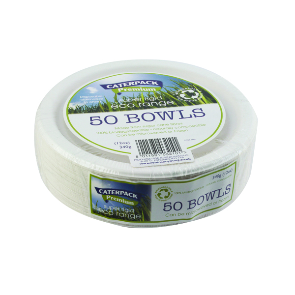 Super Rigid 7 Inch 12oz Biodegradable Bowls (50 Pack) 3866