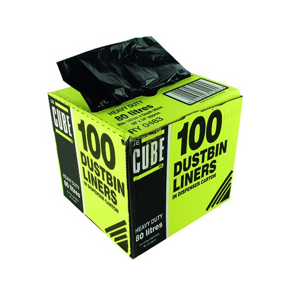 Bin Bags & Liners Le Cube Dustbin Liner Dispenser 80 Litre Black (100 Pack) 0483