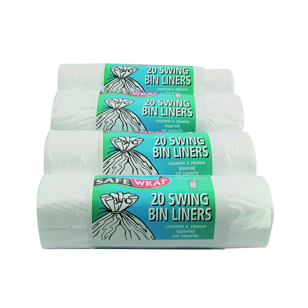 Safewrap Standard Swing Bin Liner White (80 Pack) 0441