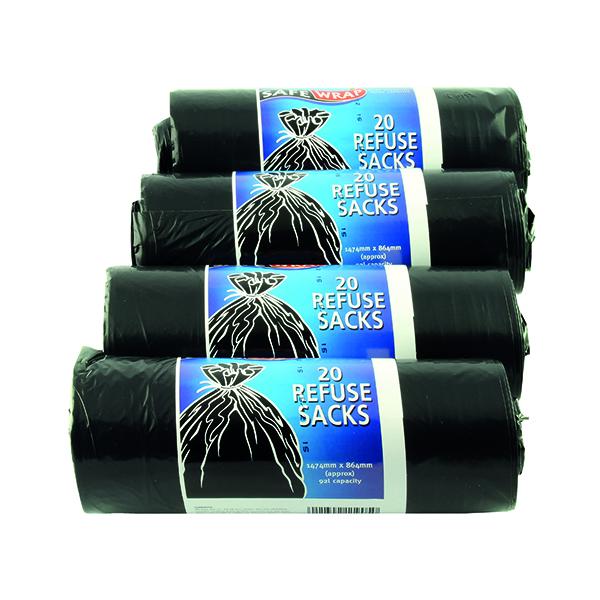 Bin Bags & Liners Safewrap Refuse Sack 92 Litre Black (80 Pack) Black 0446
