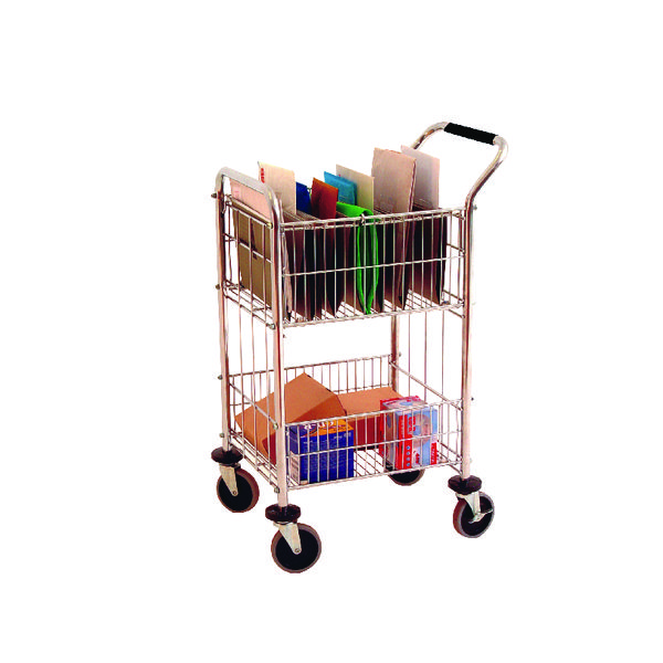 Trolley Mail Room Distribution Trolley With 2 Baskets Chrome 320537