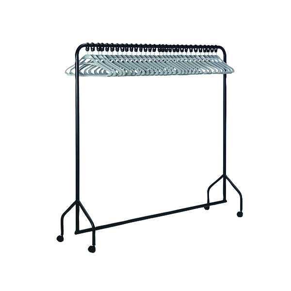VFM Black Garment Rail With 30 Grey Hangers 311418