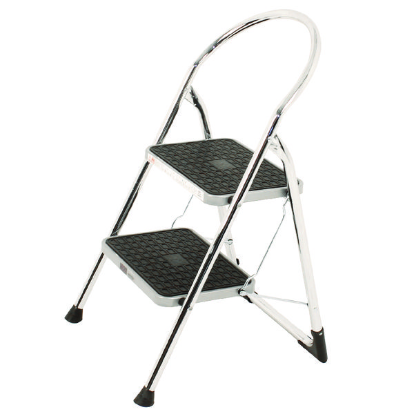 Steps Chrome High Back Folding 2 Tread Step Stool 321677