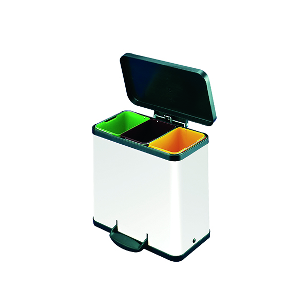 Trento Oko 3X9 Litre Recycling Bin White 357453