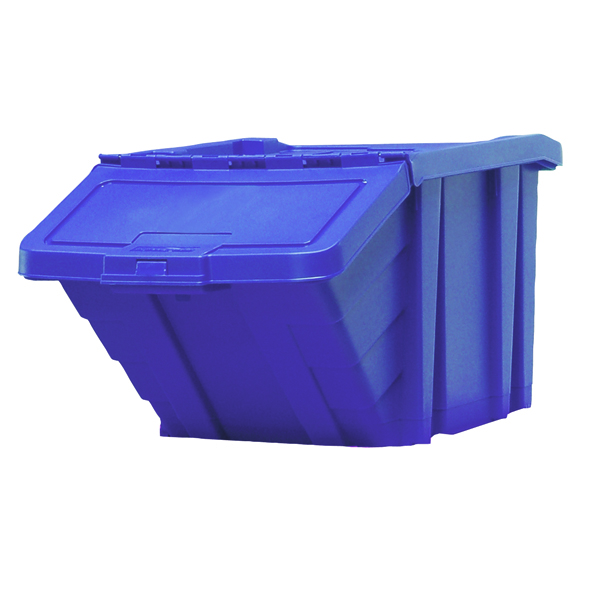 Containers VFM Blue Heavy Duty Recycle Storage Bin With Lid 369044