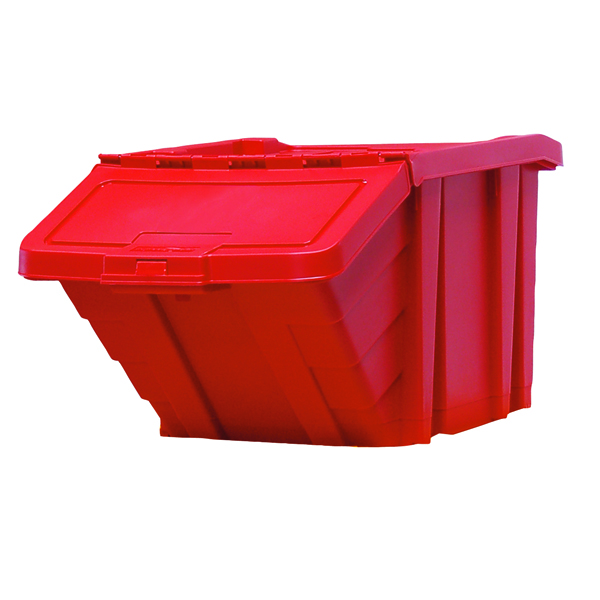 Containers VFM Red Heavy Duty Recycle Storage Bin With Lid 369045
