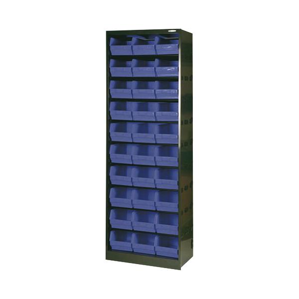 Metal Bin Cupboard With 30 Dark Grey Black Polypropylene Bins 371834