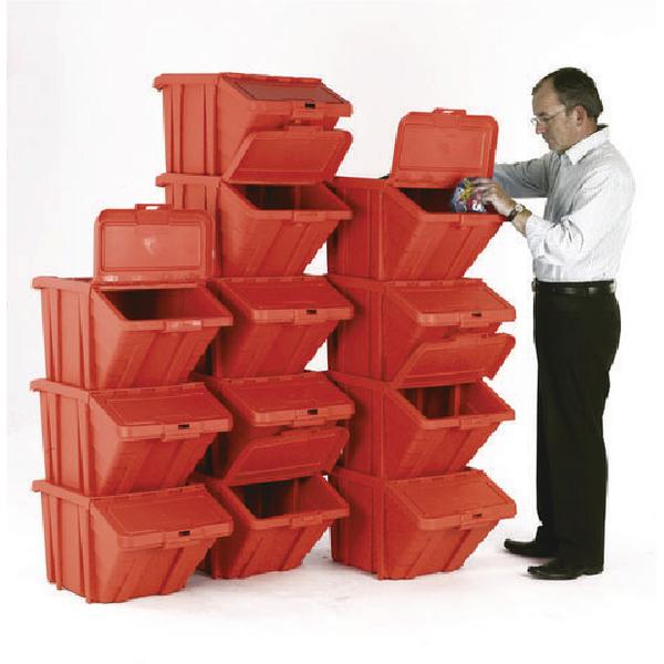 VFM Red Heavy Duty Recycle Bin/Lid (12 Pack) 369051