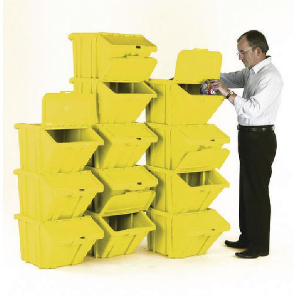 VFM Yellow Heavy Duty Recycle Bin/Lid (12 Pack) 369053