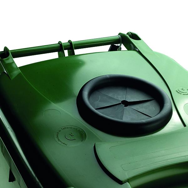 Wheelie Bin With Bottle Bank Aperture 140 Litre Green 377875