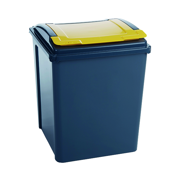 VFM Recycling Bin With Lid 50 Litre Yellow 384287