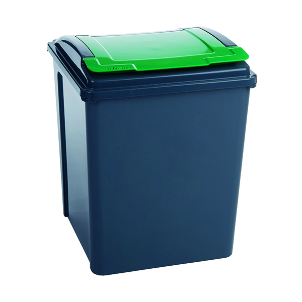 VFM Recycling Bin With Lid 50 Litre Green 384288
