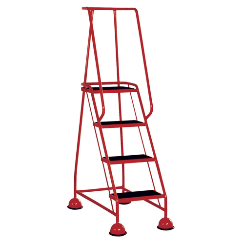 Red 4 Tread Metal Rubber Steps 125kg Max 385139
