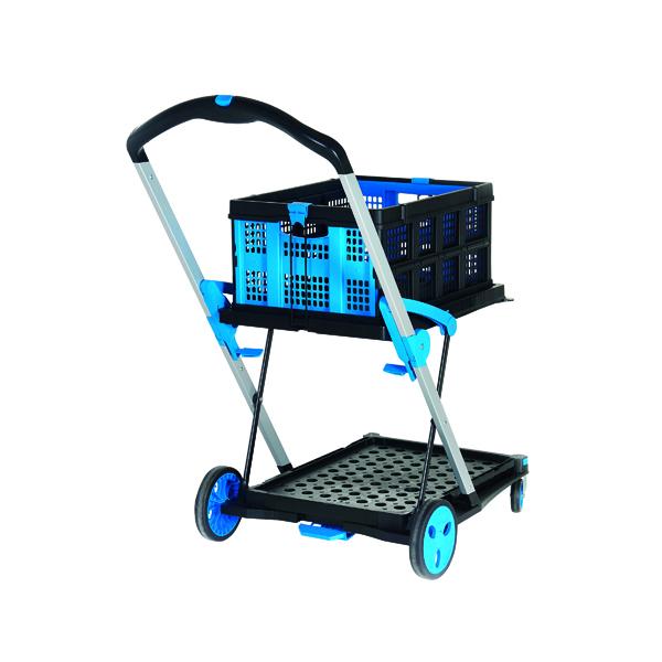 Trolleys Large Folding Trolley with Folding Box Black/Blue 415149