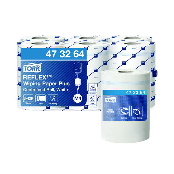 Hand Towels & Dispensers Tork Reflex M4 Centrefeed Roll 2-Ply 150m White (6 Pack) 473264