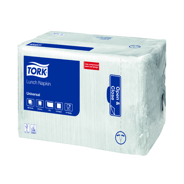 Tork Lunch Napkin 1 Ply White (500 Pack) 509300