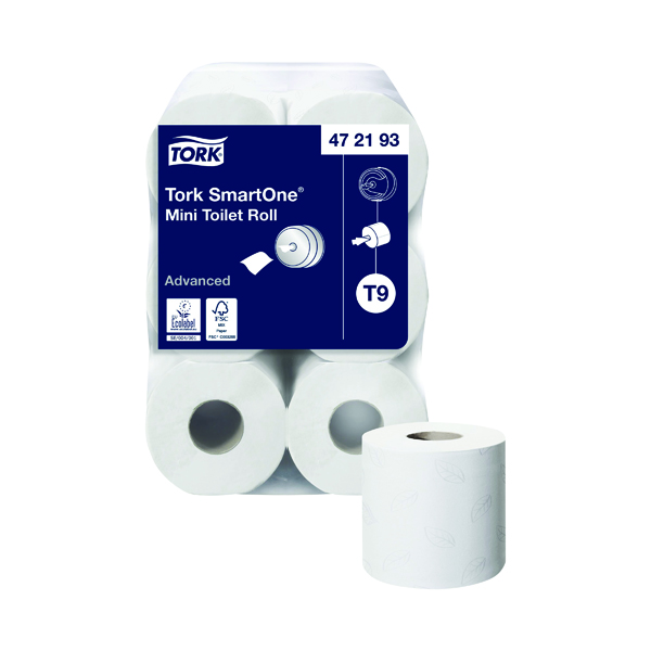 Toilet Tissue & Dispensers Tork T9 SmartOne Mini Toilet Roll 2-Ply 620 Sheets (12 Pack) 472193