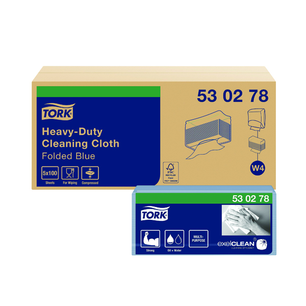 Cloths / Dusters / Scourers / Sponges Tork W4 Cleaning Cloth Blue 100 Sheets (500 Pack) 530278