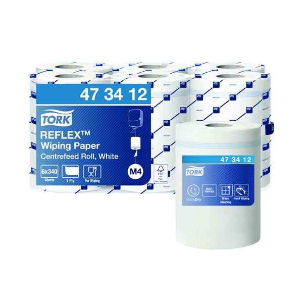 Hand Towels & Dispensers Tork Reflex M4 Centrefeed Wiping Paper 1-Ply 114m (6 Pack) 473412