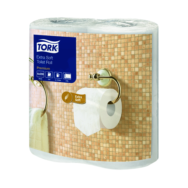 Toilet Tissue & Dispensers Tork Extra Soft Toilet Roll White 200 Sheet 2-Ply (40 Pack) 120240